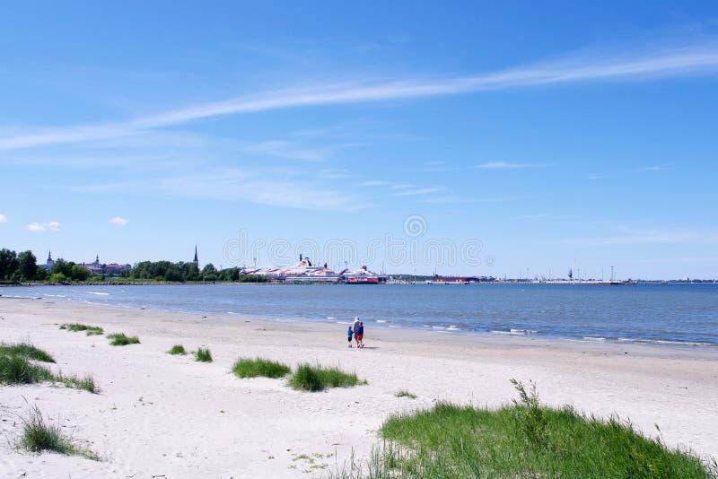 прогулка семьи пляжа стоковая фотография rf