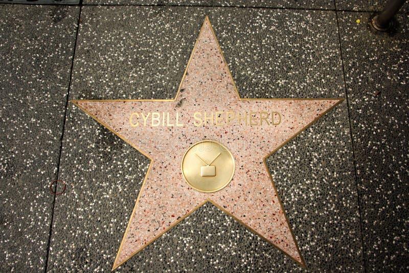 Прогулка славы - чабан Голливуда Cybill стоковые фото