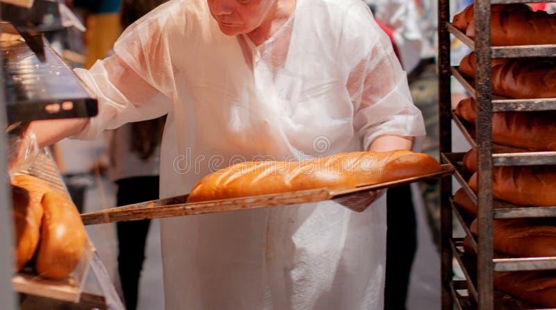Продавец женщины положил свежий хлеб на витрину магазина пекарни стоковые изображения rf