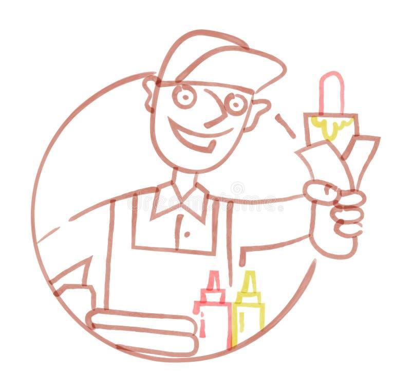 Продавец руки хот-догов нарисованный с ручкой войлок-подсказки иллюстрация штока