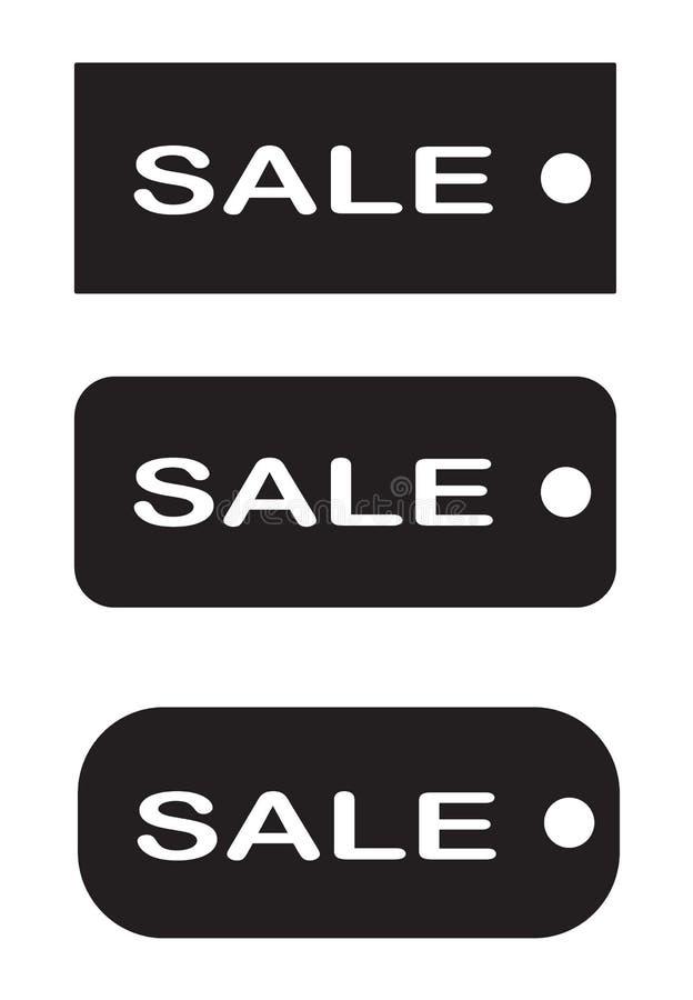 Продажа бирок на белой предпосылке черный знак продажи бирки бесплатная иллюстрация