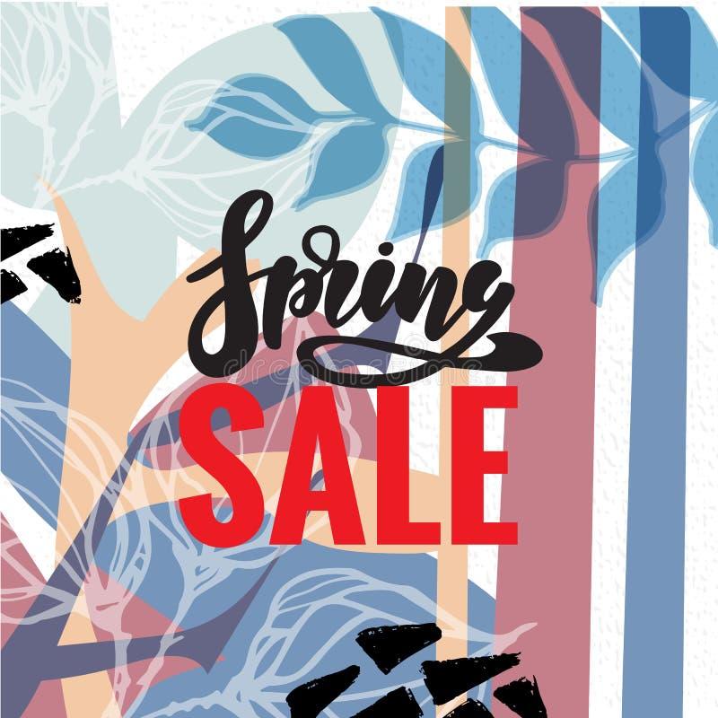 Продажа весны и предпосылка знамени вектора особенного предложения с красочными элементами и весной цветков хризантемы и маргарит бесплатная иллюстрация