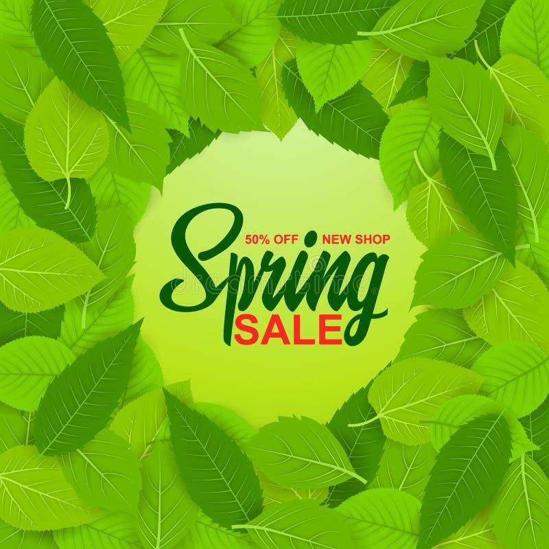 Продажа весны, 50%, новое собрание Установите весны разнообразные, яркие, свежие зеленые листья Стикер, banneativity, знамя, откр бесплатная иллюстрация