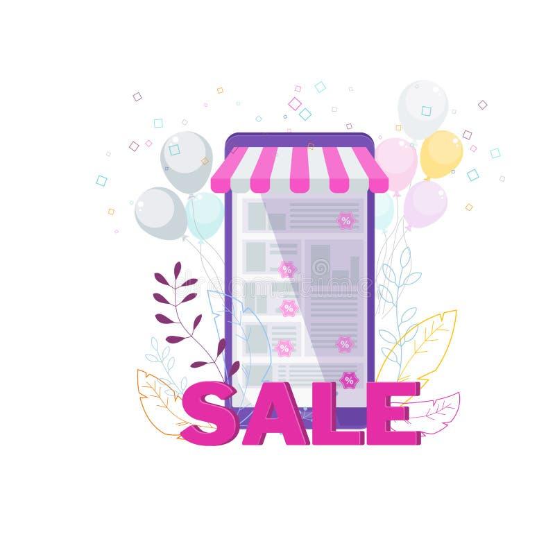 Продажа в онлайн магазине Места электронной коммерции, мобильные приложения иллюстрация вектора