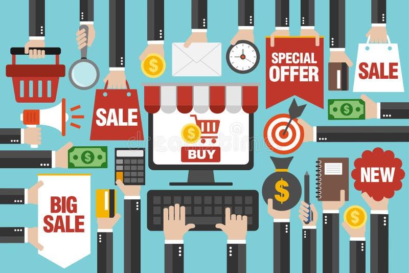 Продажа дизайна концепции плоско, с покупками компьютера онлайн бесплатная иллюстрация