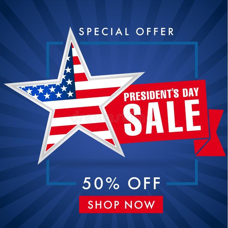 Продажа дня президентов, знамя голубых нашивок иллюстрация вектора
