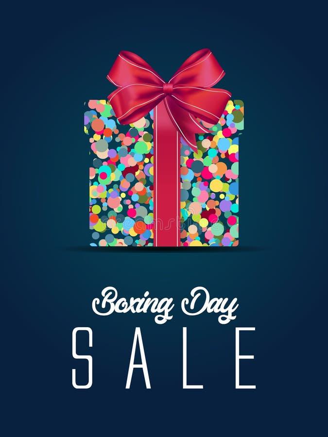 Продажа дня рождественских подарков коробка маски клиппирования рекламы рождества и eps 10 красить, синь, серый цвет, красный пуз бесплатная иллюстрация