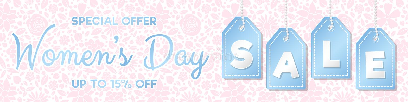 Продажа дня ` s женщин - лоснистое панорамное знамя с цветочным узором стоковая фотография