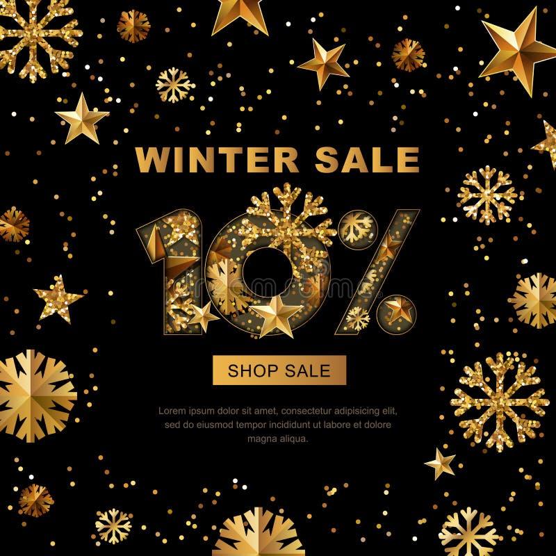 Продажа зимы 10 процентов, знамя с звездами золота 3d и снежинки иллюстрация штока