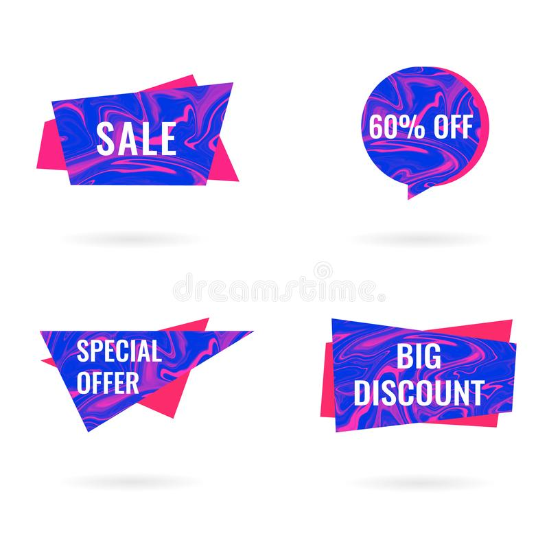 Продажа изолировала установленные знамена Стикеры большого предложения продажи и скидки, бирки, ярлыки или знамена бумаги установ иллюстрация штока
