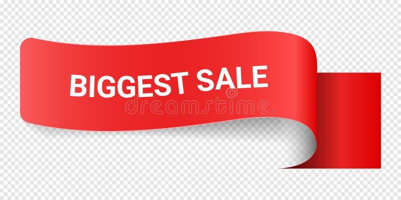 Продажа красного знака иллюстрации вектора самая большая Иллюстрации для маркетинга продвижения для печатей и плакатов, дизайна м иллюстрация вектора