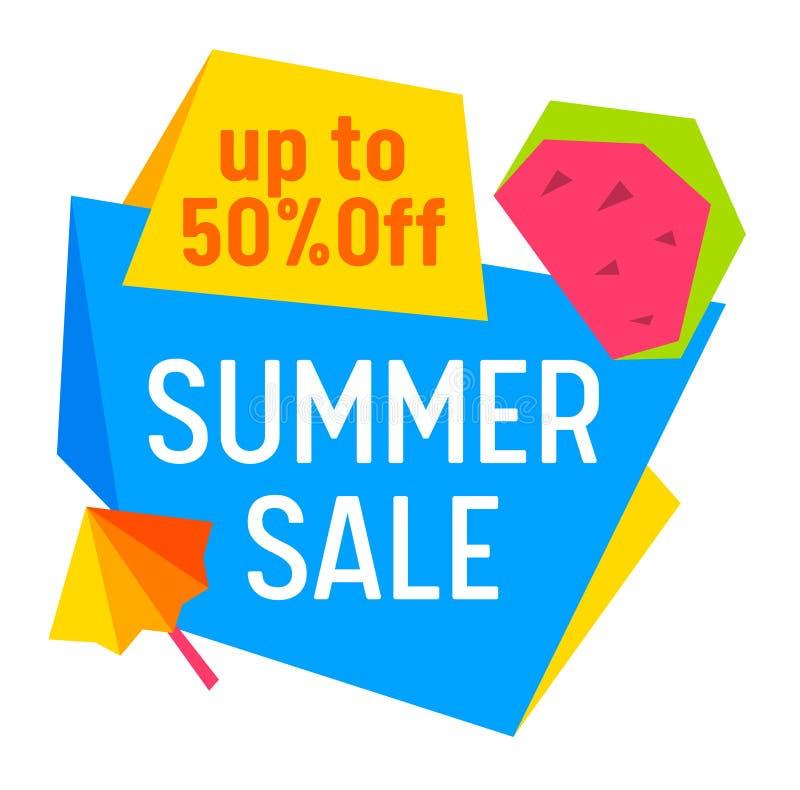 Продажа лета, со знамени, бирки, значка с зонтиком и куска арбуза изолированного на белой предпосылке, плакате рекламы Promo иллюстрация вектора