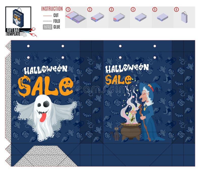Продажа магазина ведьмы и призрака шаблона хеллоуина иллюстрация вектора