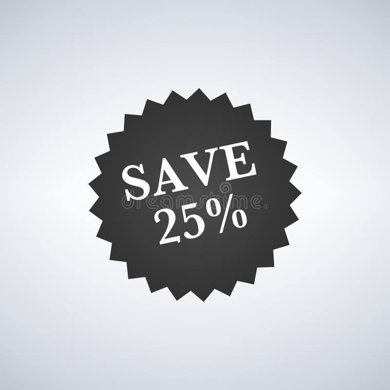 Продажа маркирует шаблон значка, символы ярлыка продажи 25 процентов, значок продвижения скидки плоский с длинной тенью, emb стик иллюстрация вектора