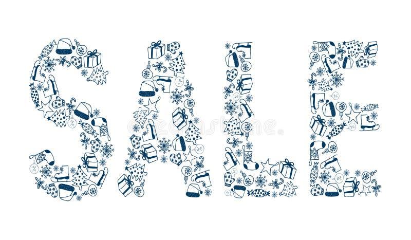 ПРОДАЖА надписи голубого рождества декоративная бесплатная иллюстрация