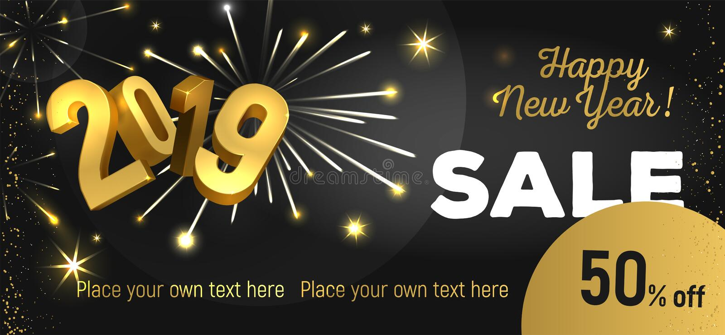 Продажа 2019 Нового Года иллюстрация штока