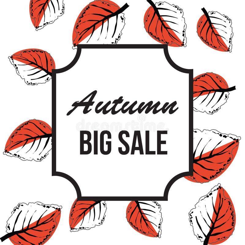Продажа осени большая типографская Лист падения иллюстрация штока