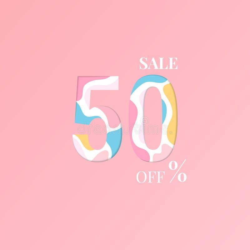 Продажа 50% особенного предложения Цена предложения скидки иллюстрация штока