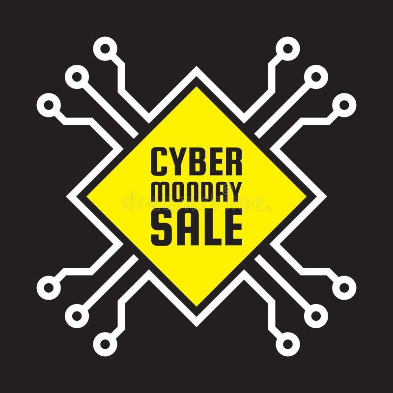 Продажа понедельника кибер - иллюстрация концепции вектора Абстрактный знак компьютерной микросхемы План предложения скидки творч иллюстрация штока