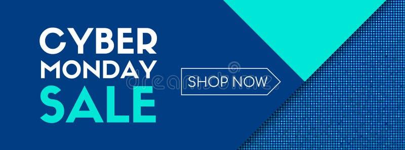 Продажа понедельника кибер теперь магазин Шаблон знамени вектора бесплатная иллюстрация
