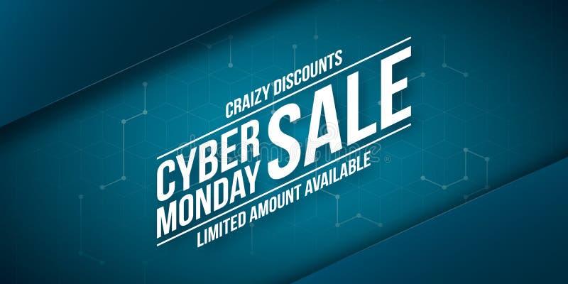 Продажа понедельника кибер, шальные скидки, шаблон знамени вектора бесплатная иллюстрация