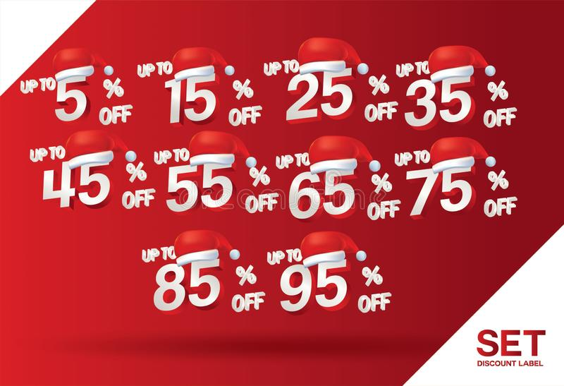 Продажа скидки рождества установила 5,15,25,35,45,55,65,75,85,95 процентов на векторе набора красной этикетки со шляпой Санта Кла иллюстрация штока