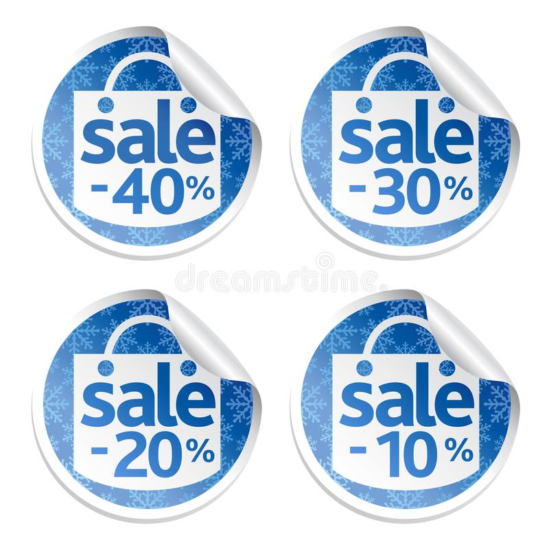 Продажа стикера Нового Года голубая установила 10,20,30,40 с снежинками иллюстрация штока