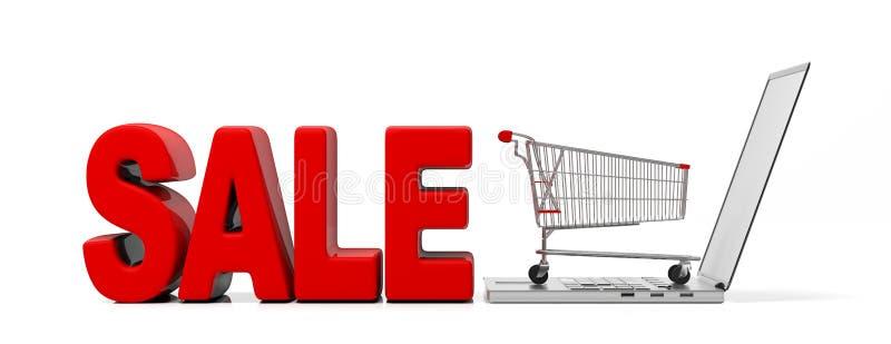 Продажа текста и тележка супермаркета на ноутбуке изолированном на белом, знамени иллюстрация 3d иллюстрация вектора