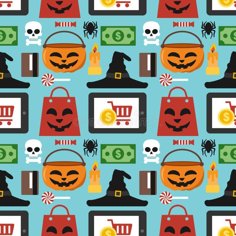 Продажа хеллоуина безшовная плоско иллюстрация штока