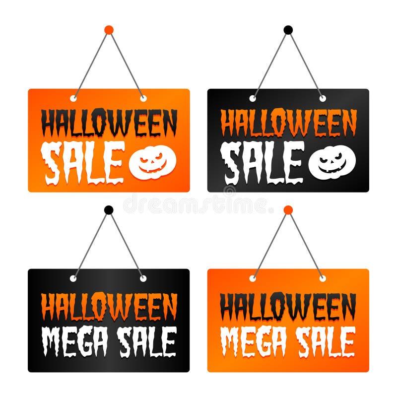 Продажа хеллоуина - смертная казнь через повешение продажи хеллоуина мега подписывает Вектор Eps10 иллюстрация штока