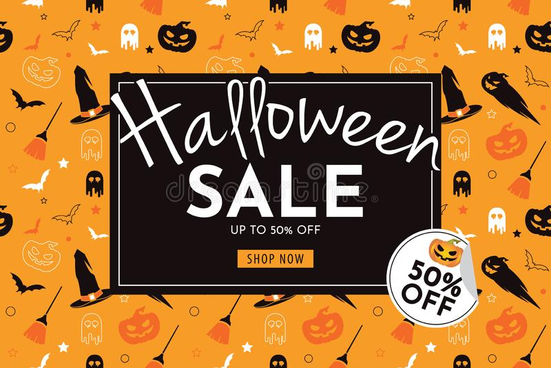 Продажа хеллоуина с тыквой, шляпой ведьмы, веником, призраком, и летучей мышью безшовные знамя и предпосылка иллюстрация штока