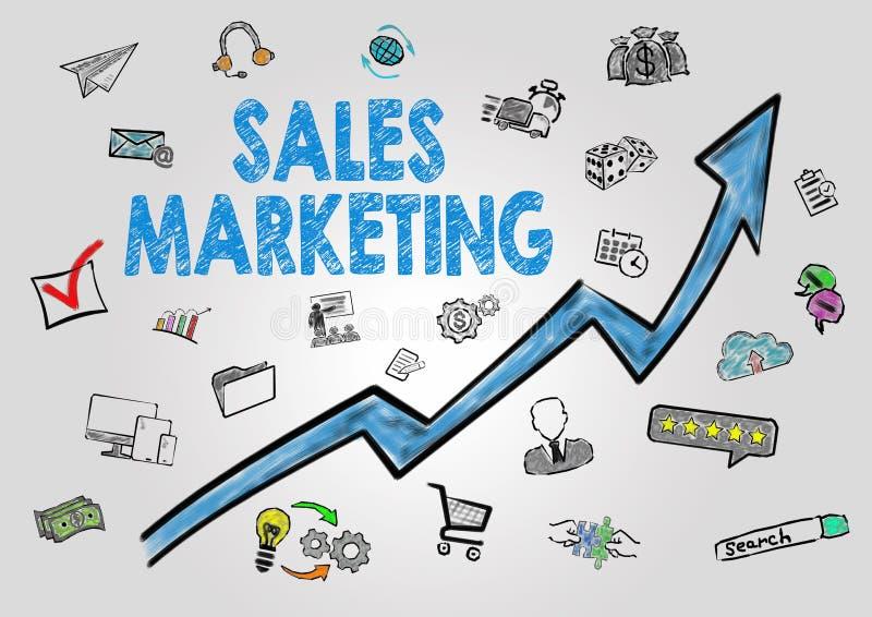 Продажи выходя концепцию вышед на рынок на рынок Стрелка с ключевыми словами и значками на серой предпосылке иллюстрация штока