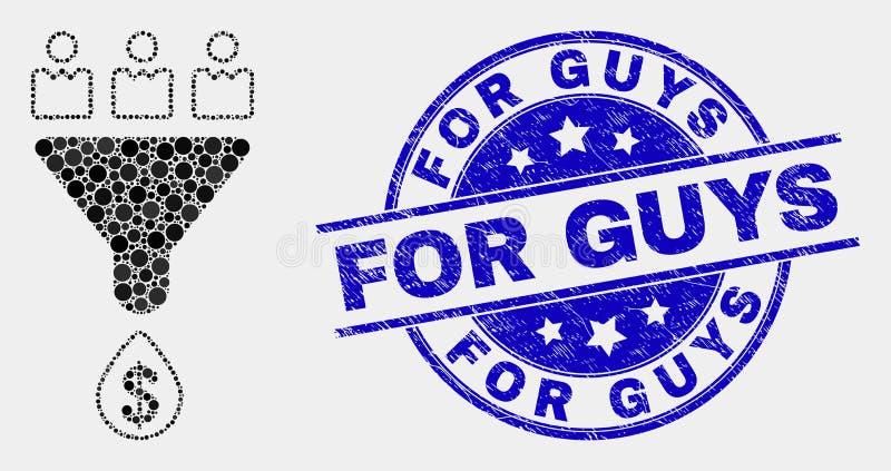Продажи клиентов пиксела вектора направляют значок и Grunge для водяного знака парней бесплатная иллюстрация