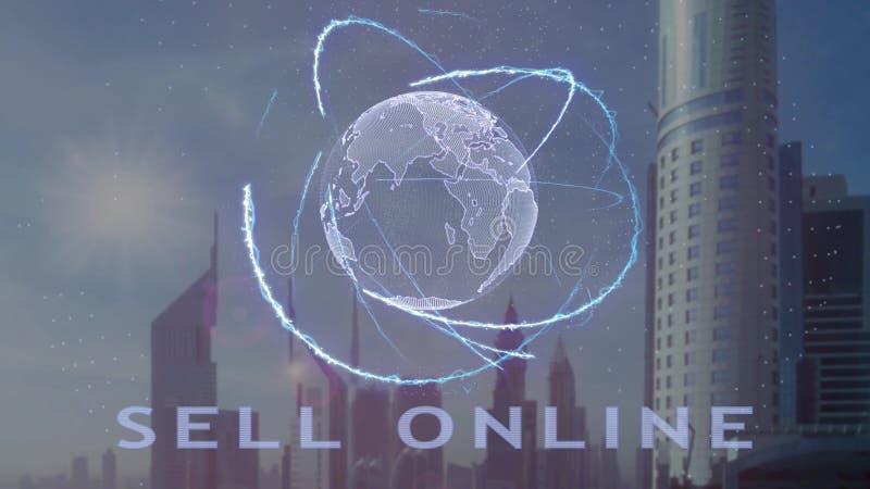 Продайте онлайн текст с hologram 3d земли планеты против фона современной метрополии иллюстрация вектора