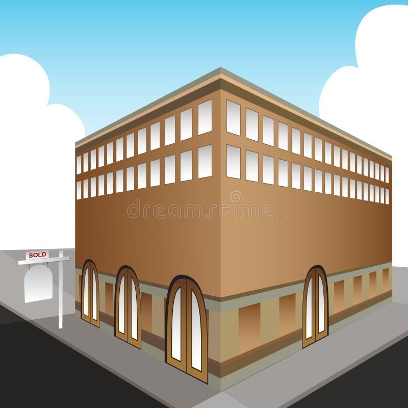 проданная публика офиса здания иллюстрация вектора