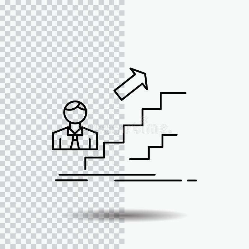 продвижение, успех, развитие, руководитель, линия значок карьеры на прозрачной предпосылке r иллюстрация вектора