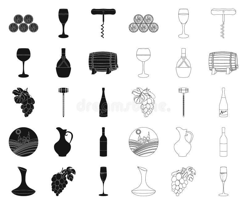 Продукты вина черные, значки плана в установленном собрании для дизайна Оборудование и продукция вина vector сеть запаса символа иллюстрация штока