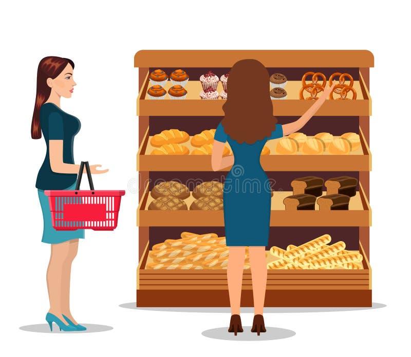 Продукты людей клиентов bying в супермаркете иллюстрация вектора