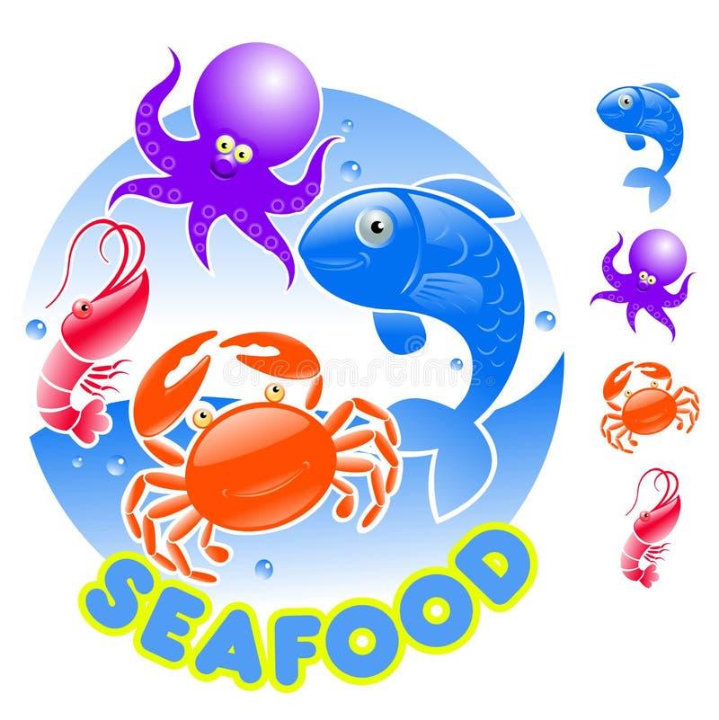 продукты моря логоса шаржа иллюстрация штока