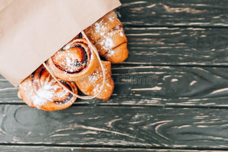 Продукты пекарни бумажного мешка здоровая еда Пустое пространство лакомка еды принципиальной схемы питательная Насмешка вверх стоковое изображение rf