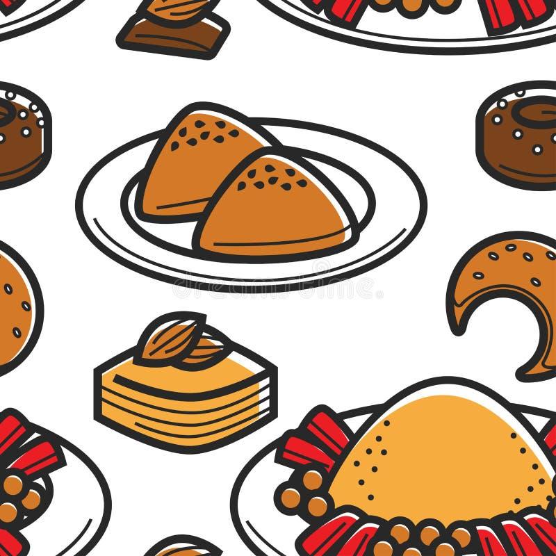Продукты пекарни еды Туниса традиционные и картина кускус безшовная иллюстрация вектора