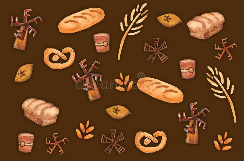 Продукты пекарни, печь печать Картина печенья безшовная Милая предпосылка кухни иллюстрация вектора