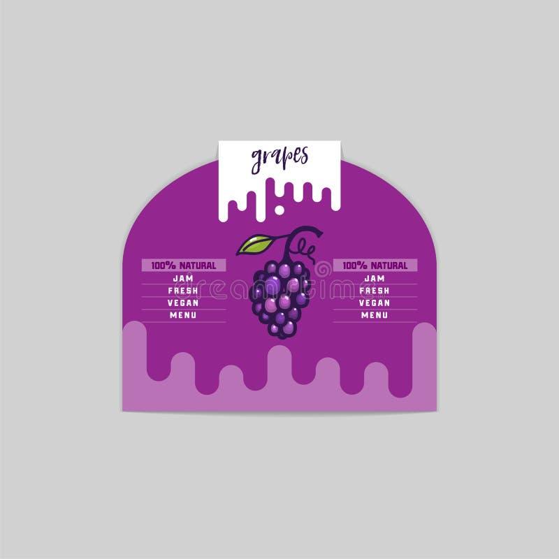 Продукты стикера и eco виноградины Элемент сети виноградины, изолированный вектор иллюстрация вектора