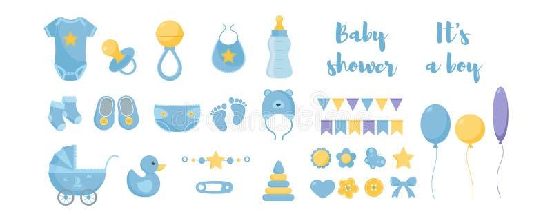 Продукты ухода и здравоохранения и гигиены малыша с декоративными элементами для дизайна детского душа иллюстрация штока