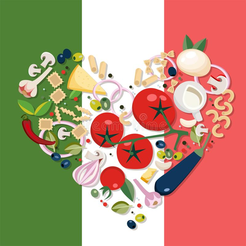 Продукты формы сердца среднеземноморские Ингредиенты - томат, оливка, лук, гриб, разные виды макаронных изделий, сыра, chili иллюстрация штока