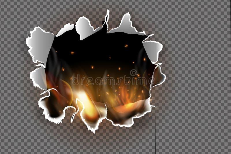 Продырявьте сорванный в сорванной бумаге с сгоренный и пламя на прозрачной предпосылке иллюстрация вектора