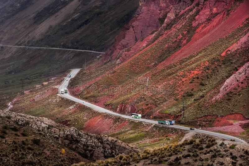 Проезжая часть к Ticlio в Перу стоковое изображение rf
