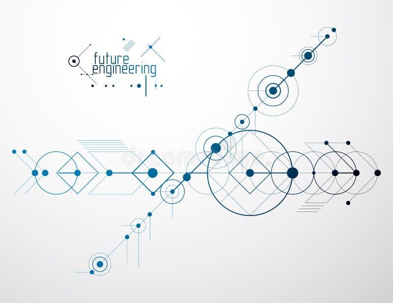 Проектировать обои вектора технологии с кругами и линиями иллюстрация вектора