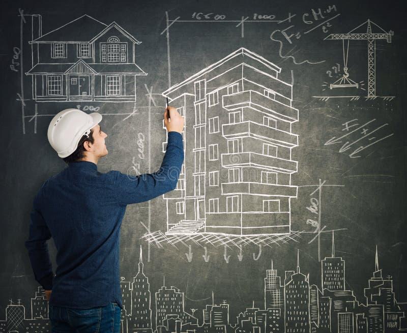 Проекты инженера по строительству и монтажу рисуя иллюстрация штока