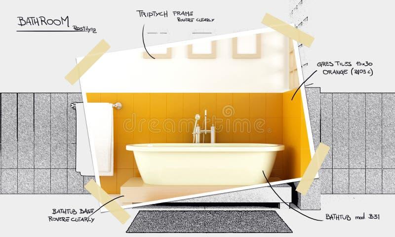 проект ванной комнаты restyling иллюстрация вектора